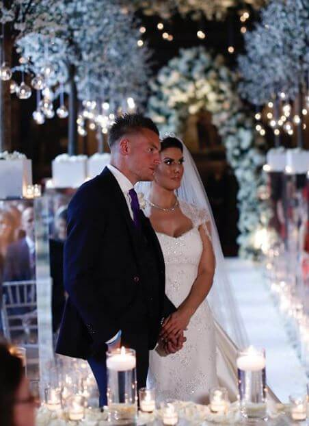 Wedding picture of Richard Gill's son, Jamie Vardy, and his wife.