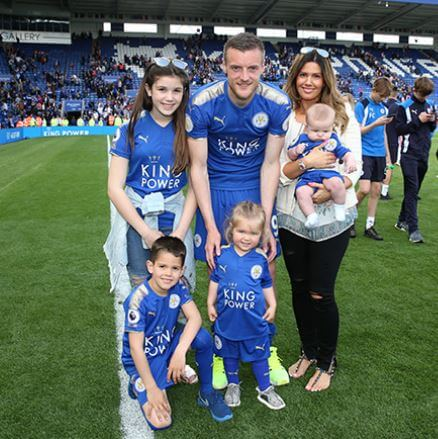 Ella Vardy's father, Jamie Vardy, with his family.