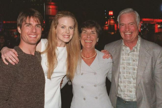 Mary Lee Pfeiffer with her son, Tom Cruise, Nicole Kidman, and second husband, John.