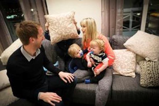 Rachel Potter with her husband, Graham Potter, and children.