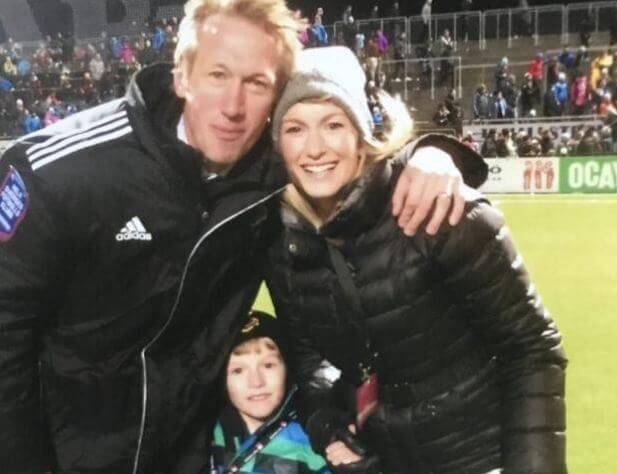Rachel Potter, with her husband, Graham Potter, and eldest son.