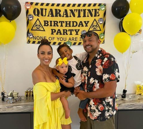 Remi Leigh Henriques celebrating her first birthday during the quarantine with her parents, Sean Paul and Jodi Stewart, and brother.