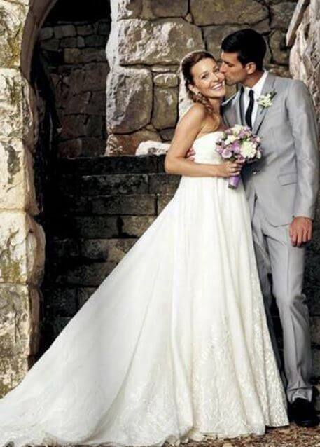 Dijana Djokovic's son, Novak Djokovic and Jelena Ristic on their big wedding day.