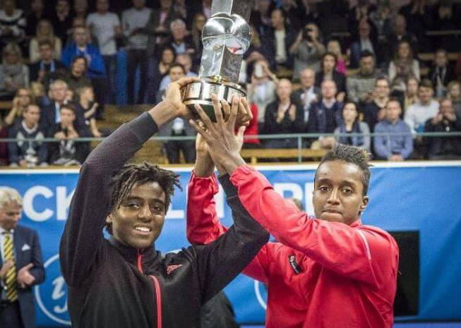 Yemer Wondwosen's sons, Elias Ymer and Mikael Ymer, while winning Stockholm open double title.