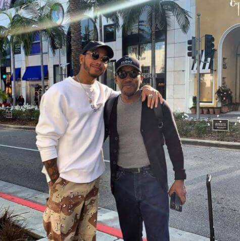 Nicola Lockhart's half brother, Lewis Hamilton, with his father, Anthony.