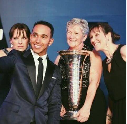 Nicola Lockhart, with brother Lewis Hamilton, mother, and her sister.