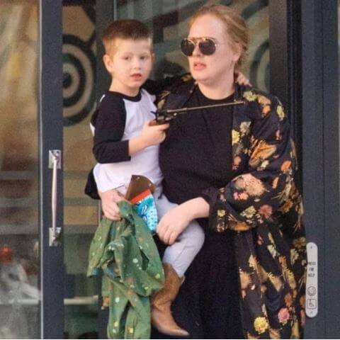 Penny Adkins's daughter, Adele with her son.