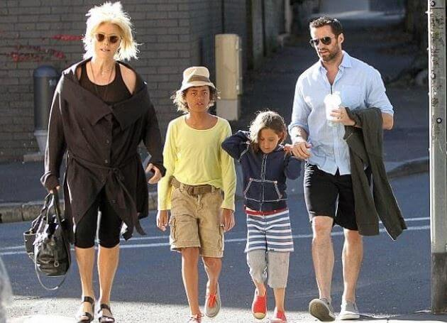 Christopher John Jackman's son, Hugh Jackman with his wife, Deborra-Lee Furness, and children.
