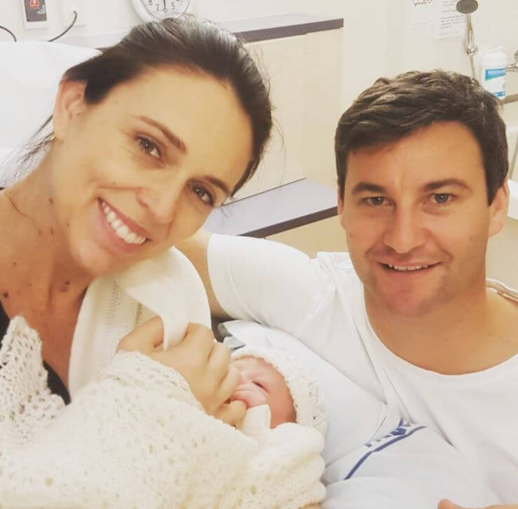 Louise Ardern sister Jacinda Ardern with her partner Clarke Gayford and daughter.