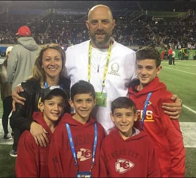 Stacey Nagy with her spouse Matt Nagy and children Brayden, Tate, Jaxon, and Jett Nagy