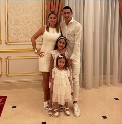 Miguel Di Maria's son Angel Fabian Di Maria with his wife Jorgelina Cardoso and daughters