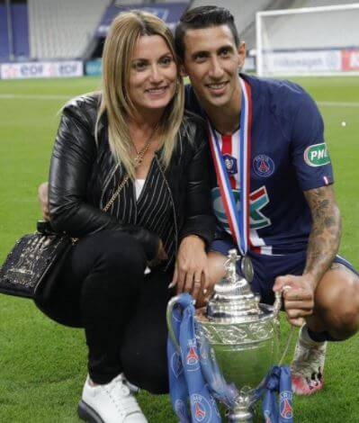Miguel Di Maria's son Angel Fabian Di Maria with his wife Jorgelina Cardoso