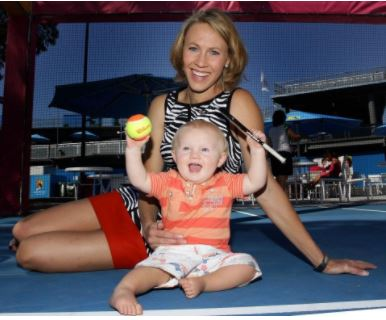 Tim Sullivan's wife Alicia Molik and son Yannik Jude