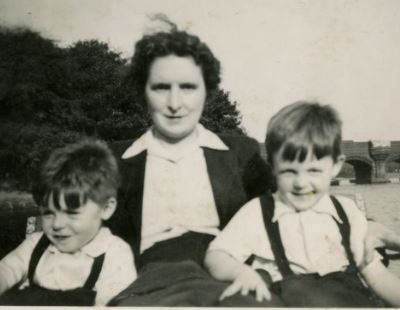 Mary Patricia McCartney with her sons Paul McCartney and Mike McGear