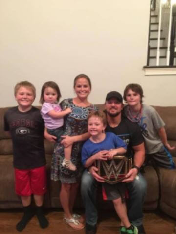 Wendy Etris with her husband A.J. Styles and children.