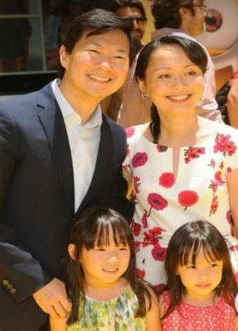 D.K. Jeong son Ken Jeong with his wife and twin daughters.