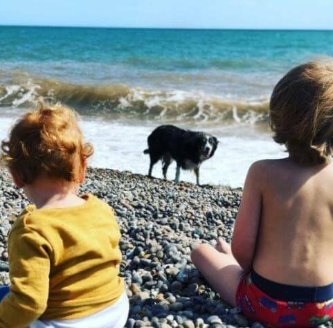 John Speleers grandchildren in Branscombe Beach Main.
