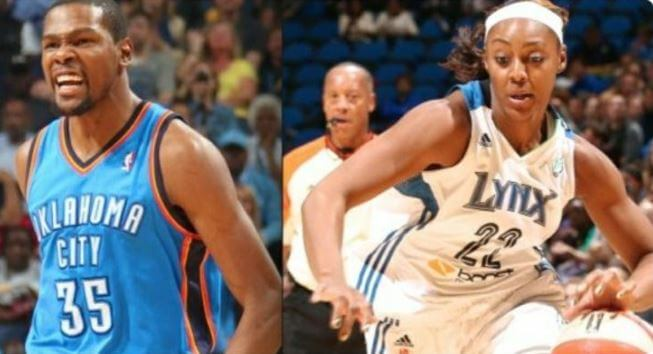 Wanda Durant son Kevin Durant and soon to be daughter in law Monica Wright in the field.