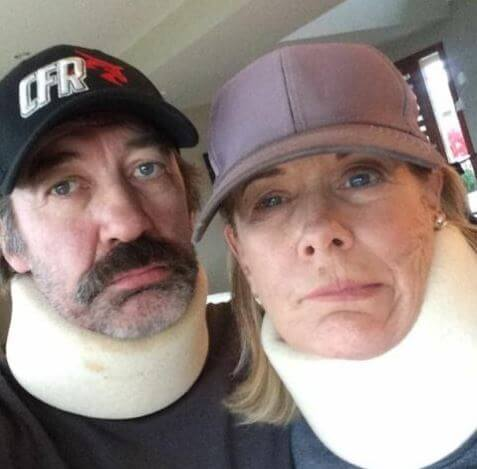 Shea Johnston parents Shaun Johnston and Sue Johnston dressed up as bike crash victims.